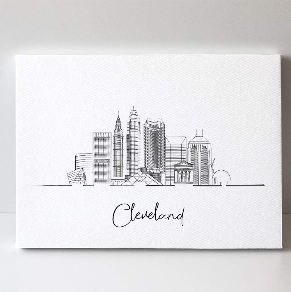 Cleveland City Ohio State Line Art - US Skyline 67% OFF of fixed price Max 69% OFF Landscape Trav