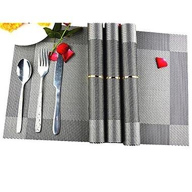 Placemats,Set of 8 AAndrea Heat-resistant Place mats,Non-slip Washable PVC Round Table Mats Woven Vinyl Placemat,12x18 (Silver)