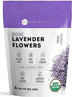 Organic Lavender Flowers - Kate Naturals. Premium Grade. Dried. Perfect for Tea, Lemonade, Baking, Baths. Fresh Fragrance....