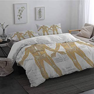 Duvet Cover Set with Zipper Human Anatomy Diagram of Human Skeleton System with Titled Main Parts of Body Joints Picture 100% Washed Microfiber White Tan Full