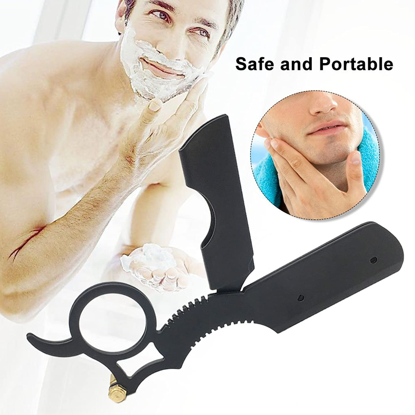 Klaxiaz - 高品質プロフェッショナルストレートエッジトラベルホーム供給のための理髪店カミソリステンレス鋼の刃メンズシェーバー髪アンティークシェービングツール