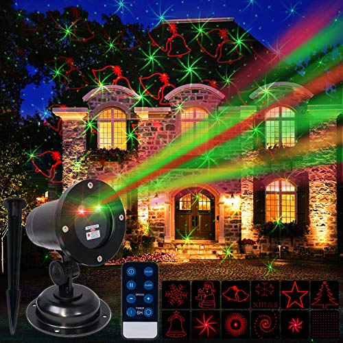 Christmas Laser Projector Outdoor Light for House, Holiday, Xmas Decoration, IP44 Waterproof, Wireless Remote Control, Red/Green (12 Illusions)