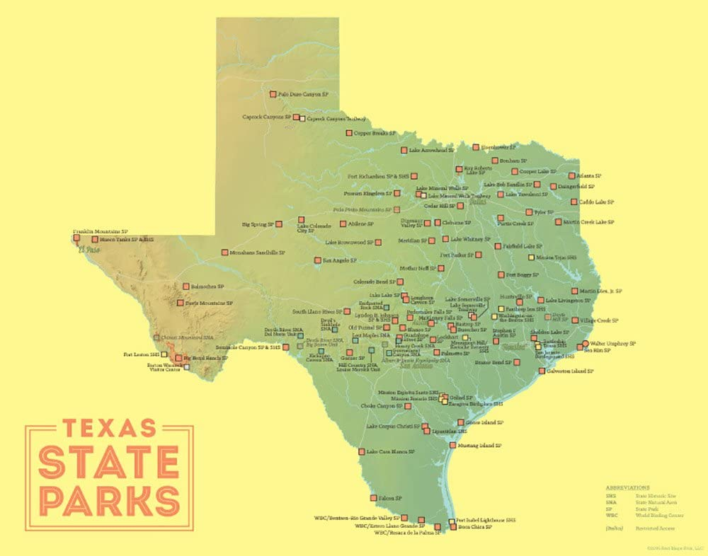 Map Of State Parks In Texas Amazon.com: Best Maps Ever Texas State Parks Map 11x14 Print