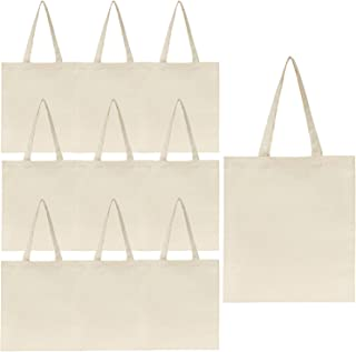 Jillmo Blank Canvas Tote Bags Bulk, 6oz 100% Natural Cotton Plain Tote Bags to Decorate (10 Pack)