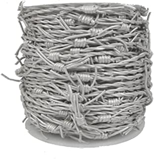 GenuineLeatherCord Leather Cord Barbed Wire, 10 Meter Spool, Metallic Silver