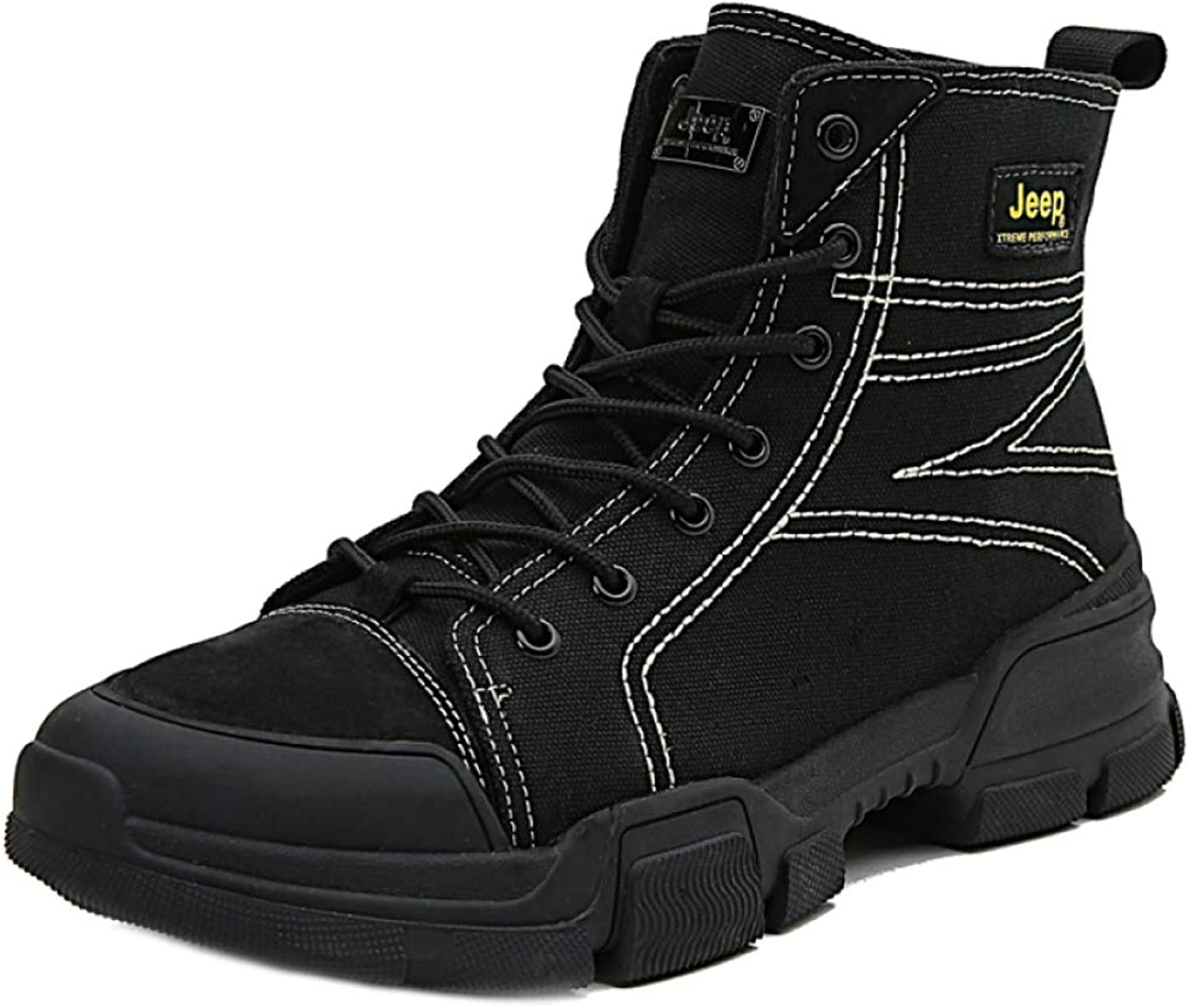 Martin Men's Snow Boots Winter Warm Ankle Boot Fully Lined Anti-Slip Leather Waterproof shoes Size:38-45