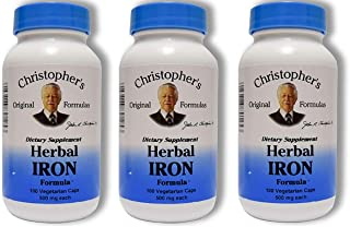 Christopher's Herbal Iron,180 Caps 3 Pack