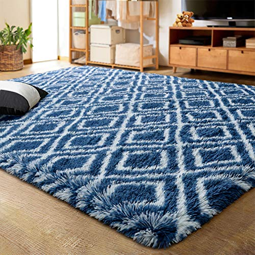 LOCHAS Luxury Velvet Shag Area Rug Plush Fluffy Rugs for Bedroom Living Room, Super Soft and Comfy Carpet, Geometric Moroccan Rugs for Girls Kids Nursery Children, 5x8 Feet, Light Navy/White