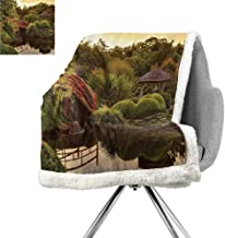 Japanese Decor Blanket Small Quilt,Peaceful Garden in Twilight with Reflections in The Water Red Bridge On Pond SunGreen Yellow,Degrees of Comfort Weighted Blanket W59xL78.7 Inch