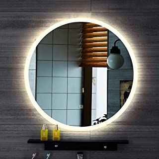 doost Bathroom Mirror with Wall-Mounted Backlight with Touch Sensor Frosted Border Frameless Glass Panel Hanging Mirror Oval 24 inch Bedroom Living Room Decoration