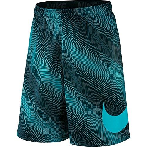 NIKE Men's 9'' Fly Linear Flow Printed Shorts (Large, Black/Omega Blue/Black)