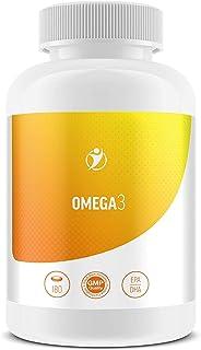 Omega 3 1000 mg, 180 cápsulas de gelatina blanda, cápsulas de aceite de salmón/aceite de pescado de primera calidad con 18% de EPA / 12% de DHA + vitamina E, calidad a un precio justo