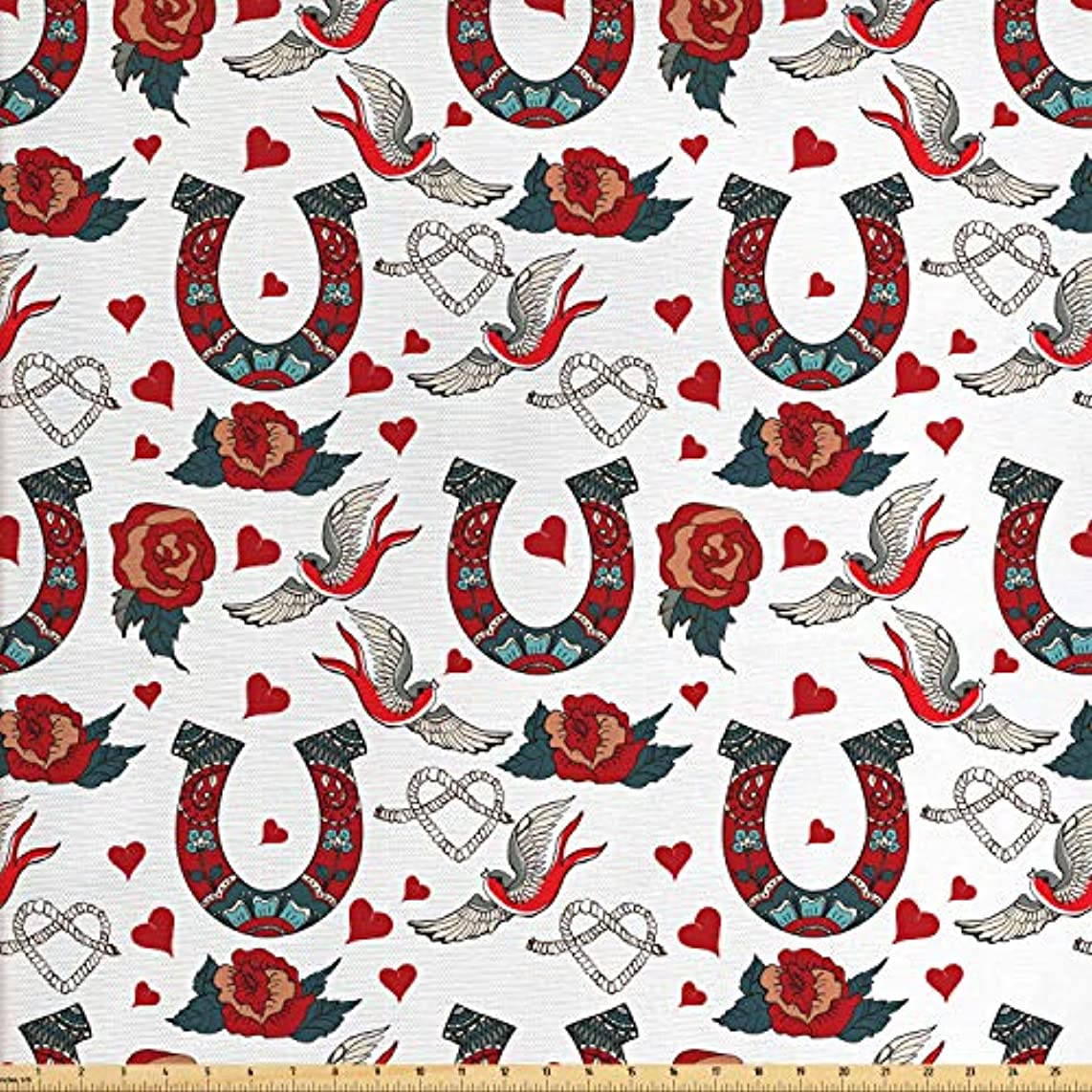 Lunarable Horseshoe Fabric by The Yard, Horseshoe with Rose Swallow Hearts Ropes Foral Ornamental Tattoo Style Art, Decorative Fabric for Upholstery and Home Accents, 2 Yards, Ruby Blue Grey