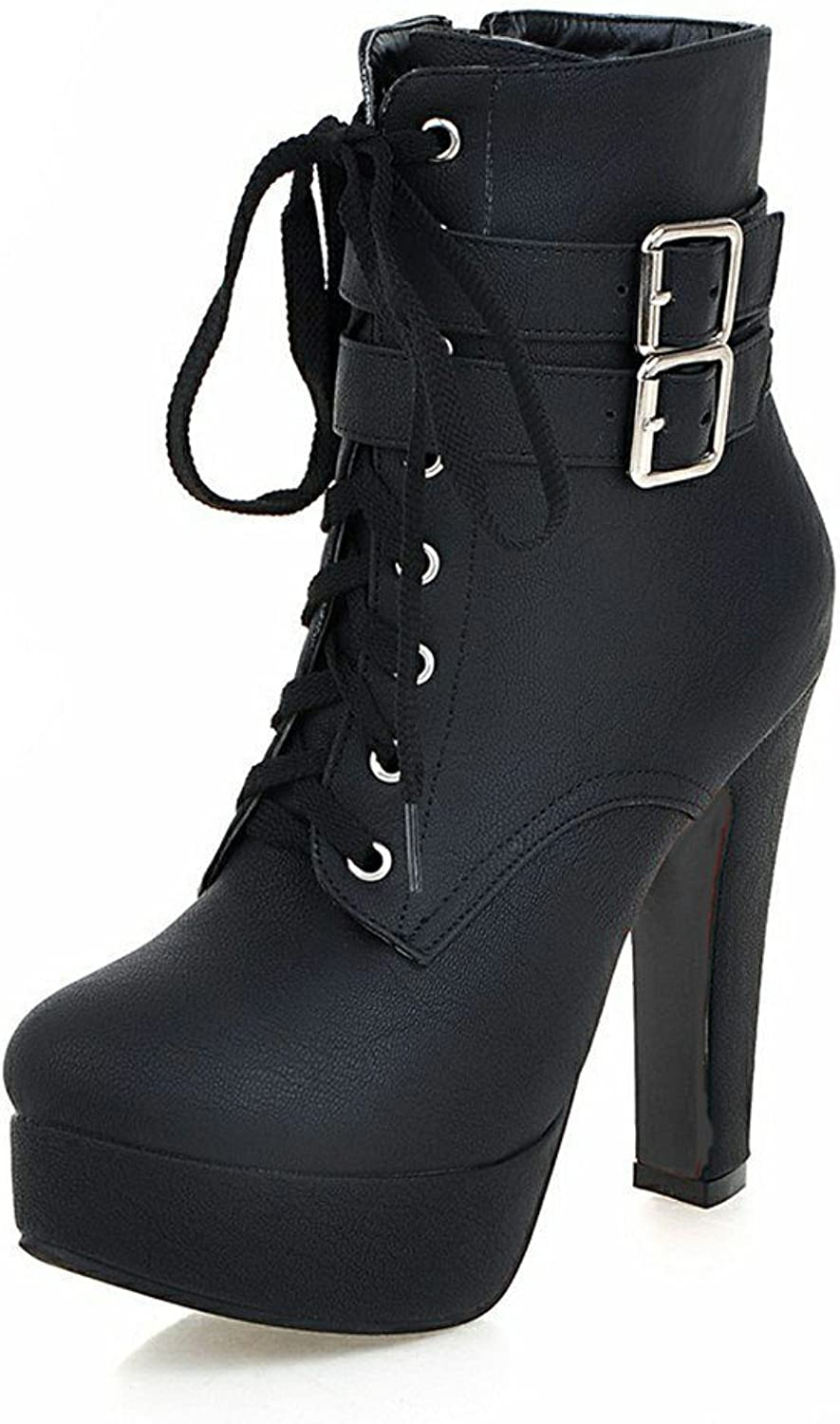 KingRover Women's Fashion Lace Up Round Toe High Heels Martens Boots Ankle Boots Black