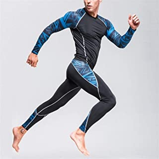 Jinqiuyuan Thermal Underwear Men's Underwear Set Compression Tracksuit Rashgard Fitness Thermo Gym Sport Suit Men's Long Johns (Color : Brown, Size : 4XL)