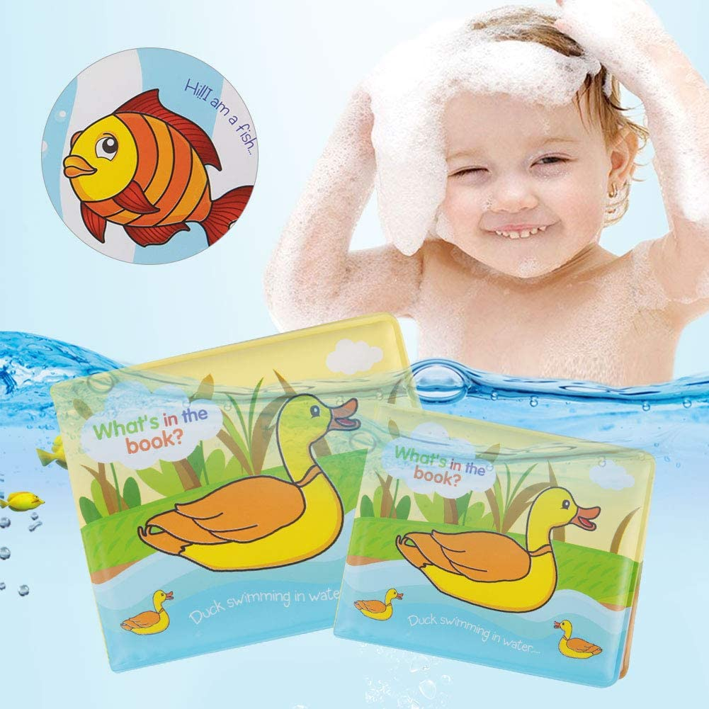 Garosa Bath Books Nontoxic EVA and Cotton Soft Baby Bath Toys Waterproof Anti-Tear Baby Books Toys for Toddler Bath Time and Early Education Duck