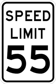 Speed Limit 55 Sign - 12 X 18 Road Sign. A Real Sign. 10 Year 3M Warranty