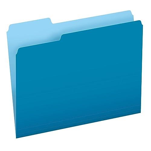 Pendaflex Two-Tone Color File Folders, Letter Size, Blue, 1/3 Cut, 100 per box (152 1/3 BLU)
