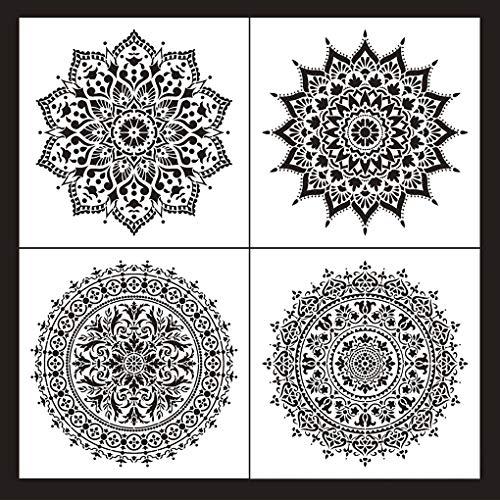 Rolin Roly 4 Pcs Plantillas de Mandala Reutilizables Plantilla Decorativa para DIY Muebles de Madera Rocas y Paredes Arte Aerógrafo Pintar Paredes
