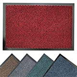 BRAVICH® RED Medium Non-Slip Heavy Duty Entrance Door Mat Commercial Office Outdoor Dirt Trapper Barrier Mat Indoor Rubber Washable Mats Runner Premium High Qualtiy 60x90cm (2'x2'11')