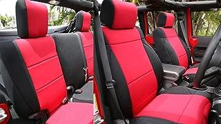 GEARFLAG Neoprene Seat Cover Custom fits Jeep Wrangler JK 2007-2017 Unlimited 4 Door NO-Side airbag Full Set (Front + Rear Seats) (Red/Black)