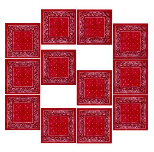 Lot de 12 Bandanas avec motif Paisley original | Couleur au choix, 12 rouge, One Size