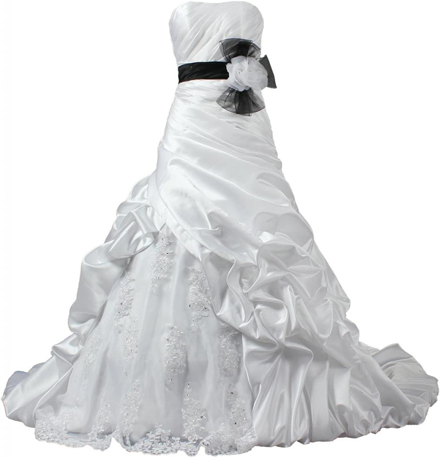 ANTS Women's Strapless Satin and Lace Wedding Dress for Bride