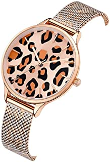 Waterproof Watch Black Amber Woman Girl Lady Leopard Print Ultra-Thin Quartz Watch 36mm Stainless Steel Mesh Belt Fashion Raincoat 3ATM Student Decoration 3ATM (Color : Gold)