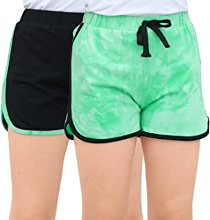 GORLYA 2 Pack Girl's Active Wear Play up Workout Gym Athletic Sport Running Casual Dolphin Shorts
