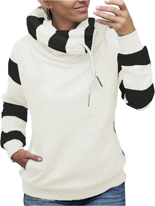 Sweatshirt Tops for Women Long Sleeve Turtleneck Color Block Thickening Drawstring Pullover Tunic Sweatshirts Plus Size