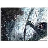 Zeo Qi Lin Zou Clásico Rompecabezas niña Lobo Arco y Flecha Lara Croft Tomb Raider 75x50cm Madera 1000 Piezas Juego de descompresión para Mejorar la lógica del Pensamiento Regalo de cumpleaños