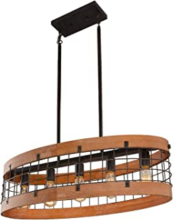 Giluta Oval Wood Chandelier Rustic Farmhouse Chandelier Industrial Metal Pendant Ceiling Light 5 Lights for Kitchen Dining Room Foyer, Brown (C0063)