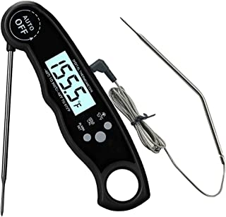 Oven Safe Leave in Meat Thermometer, Dual Probe Instant Read Food Meat Thermometer Digital with Alarm Function for Cooking, BBQ, Smoker and Grill (Black)