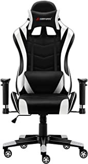 JL Comfurni Gaming Chair Chesterfield Ergonomic Swivel Home Office Nap Chair Computer Desk Chair PU Leather Recliner Sport Racing Chair with Adjustable Lumbar (Black&White)
