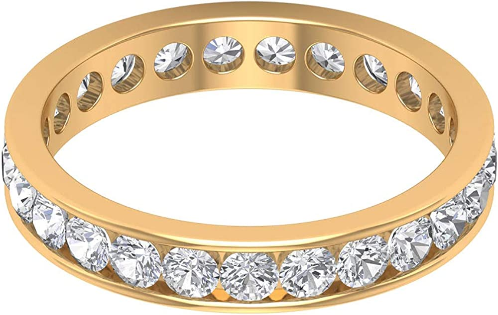 Custom 1.63 CT Round SGL Certified Moissanite Full Eternity Ring, Solid 14k Gold Channel Set Gemstone Bridal Anniversary Ring, Vintage Birthstone Ring, 14K Gold