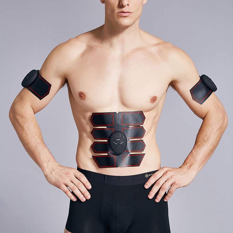 新しい腹筋トレーナーEMSワイヤレス筋肉刺激装置体重減少腹部トレーナー美容機全身マッサージエクササイズフィットネス機器ユニセックス,Black