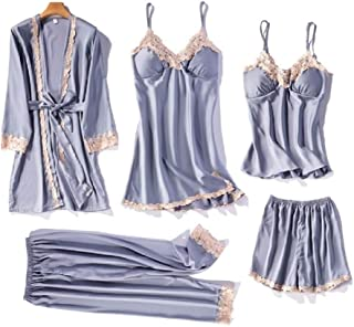 Mioni Women Lingerie Nightgowns Pajamas Set Satin Smooth Breathable Fabric Sleepwear