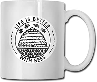 Life is Better with Bees Beekeeper Funny Novelty Gift Mug White Ceramic Cup