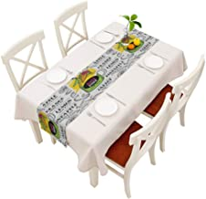 Moslion Juice Menu Table Runner Apple Orange Lemon Pineapple Carrot Restaurant Cafe Hand Drawn Decoration Table Runner for Kitchen Dining Wedding Banquet Party Cotton Linen 14x72 Inch