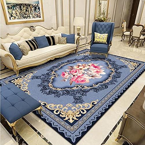 CLYDX Alfombras Salon Habitación Alfombra Pasillo Lavables Rug Dormitorio Sala de Estar Alfombra Antideslizante Alfombra para el Juego de los niños Decora el 120x160 cm (Flor Azul)