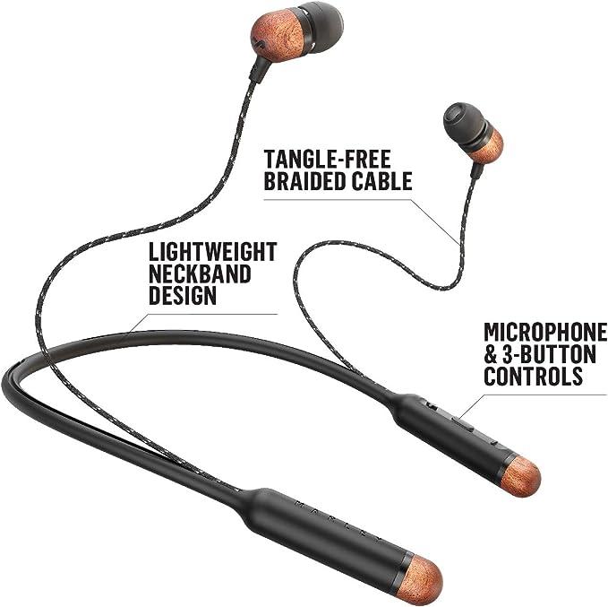House of Marley Smile Jamaica Auriculares con Bluetooth inalámbrico, hasta 8 Horas de reproducción, micrófono y 3 Teclas, Collar de diseño liviano y ...