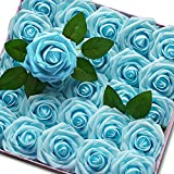 KONCHILE Blue Roses Artificial Flowers Real...