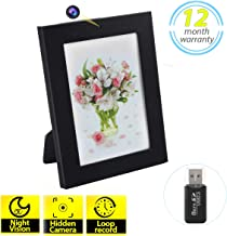 $27 » Hidden Spy Camera Photo Frame HD Recorder with Night Vision & Motion Detection Wireless Nanny Cam for Home Office Security(32GB SD Card Included)