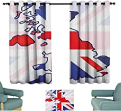 SONGDAYONE Simple Curtain Union Jack Bring Beauty Faded United Kingdom Flag and Country Map Composition Nations Symbols (2 planels,W63 x L45) Violet Blue Red White