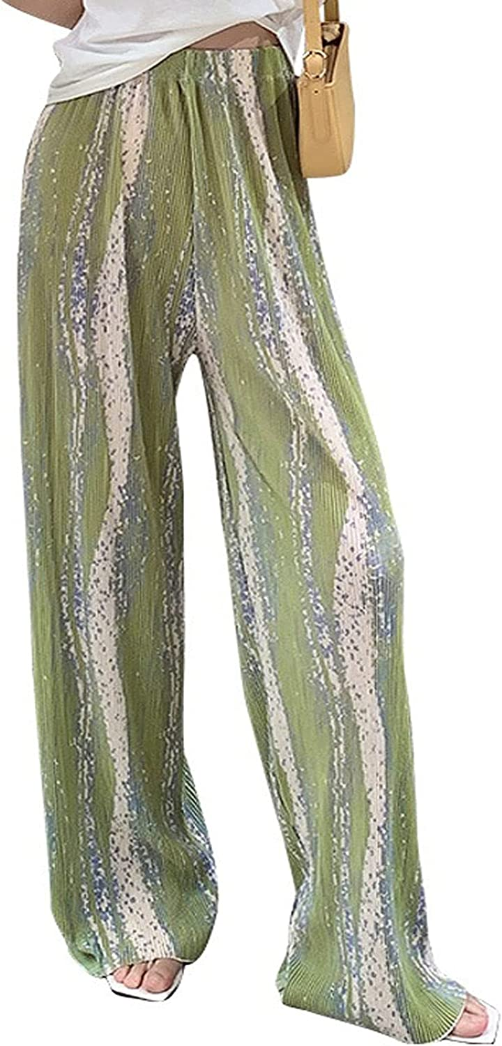 HONGFEI-SHOP Tie dye Wide Leg Pants for Women Casual Summer Drawstring High Waisted Loose Straight Pants (Color : Green, Size : One Size)