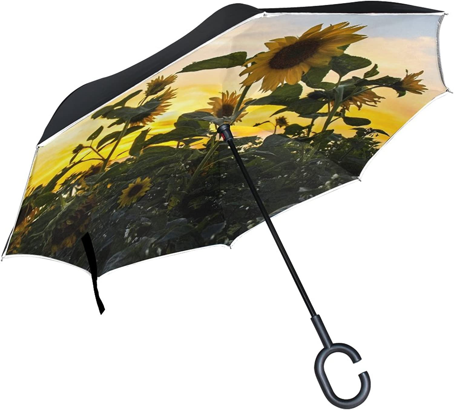 Double Layer Ingreened Landscape Sunset Dusk Sun Flower Umbrellas Reverse Folding Umbrella Windproof Uv Predection Big Straight Umbrella for Car Rain Outdoor with CShaped Handle