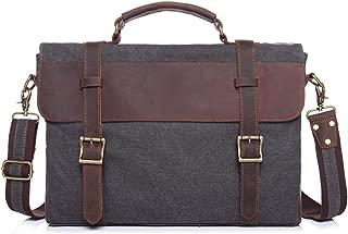 Mens Bag 13 Inch Briefcase Case Vintage Retro Waxed Canvas Genuine Leather Large Satchel Shoulder Bag College Mens Messenger Bag Waterproof Computer Laptop Bag High capacity