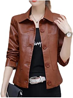 neveraway Womens Button-up Pockets Tops Outwear Bomber Short Leather Jacket Coat