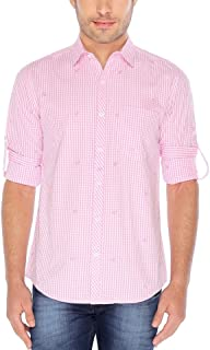 Nick&Jess Mens Pink Anchor Embroidered Slim Fit Checkered Shirt