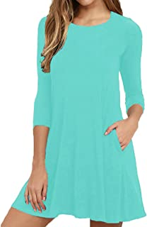 Womens Round Neck 3/4 Sleeves A-line Casual Tshirt Dress with Pocket